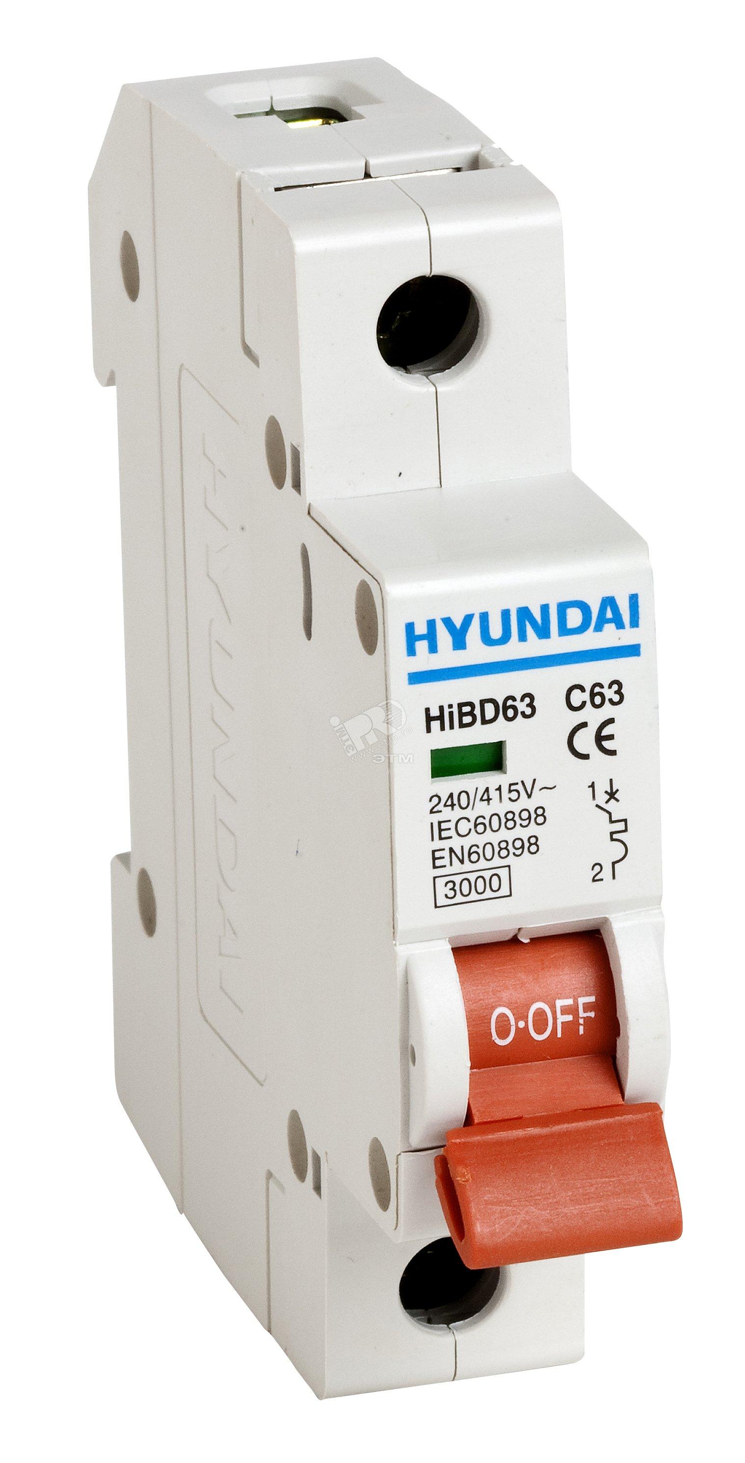 автоматические выключатели hyundai hibd63h