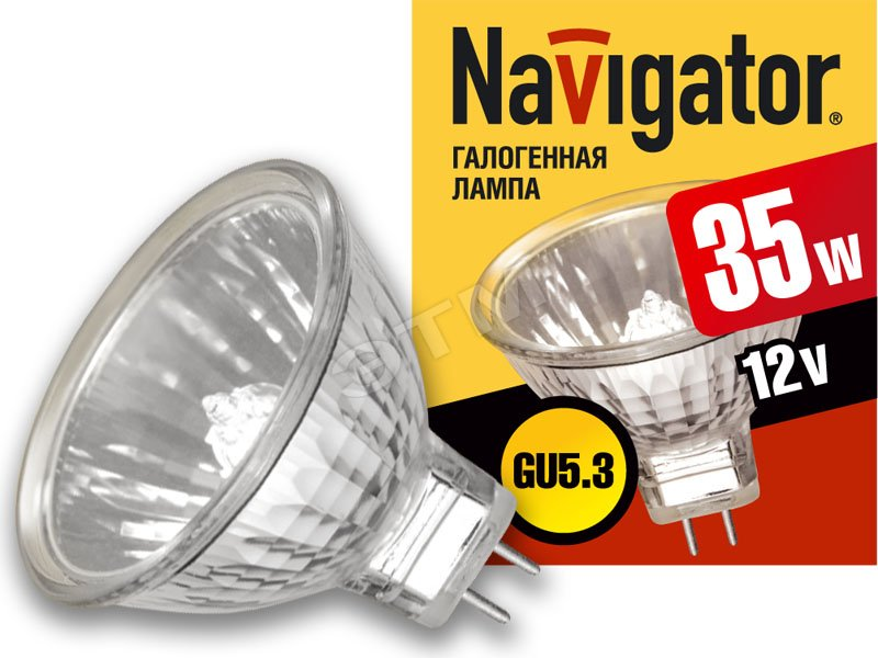 Лампа галогенная КГМ 35вт 12в GU5.3 51мм (94203 NH-MR16) Navigator купить цена