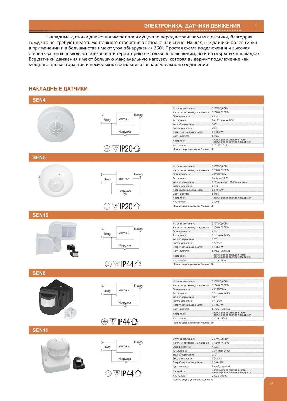 Схема подключения светильников с датчиками движения