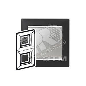 VALENA Рамка 2 поста вертикальная Ноктюрн/серебро