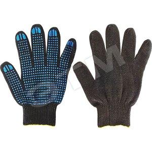 Перчатки вязаные черные х/б с ПВХ