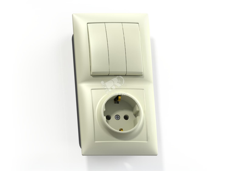 СЕЛЕНА Блок Выключатель 3 клавишный 10А  розетка с заземлением 16А БКВР-413  скрытый слоновая кость (8178) 74400acf12d
