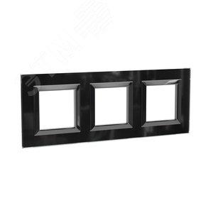 Рамка из натурального стекла, ''Avanti'', черная, 6 модулей