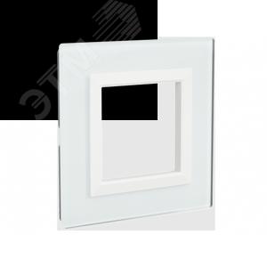 Рамка из натурального стекла,  ''Avanti'', белая, 2 модуля