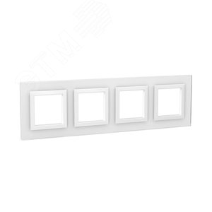 Рамка из натурального стекла, ''Avanti'', белая, 8 модулей