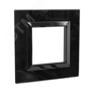Рамка из натурального стекла, ''Avanti'', черная, 2 модуля