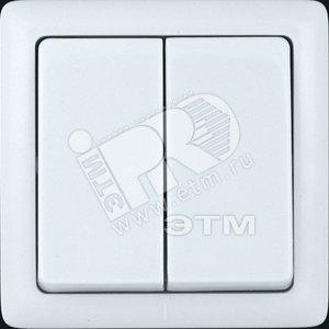 ХИТ Выключатель двухклавишный наружный 250В 6А белый