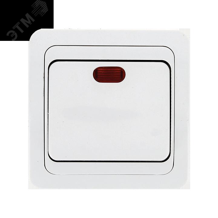 Лондон Выключатель одноклавишный с индикатором 10А белый 3fb169f6d03